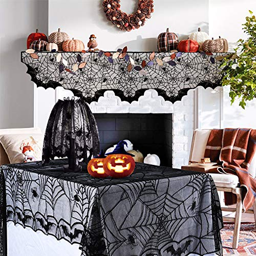 Aritiflr 3 Pack Halloween Decorations, Black Lace Party Decor, Spider Web Fireplace Mantel Scarf Cover, Spider Web Table Topper Tablecloth, Halloween Lamp Shade (Topper Lampshade Halloween)