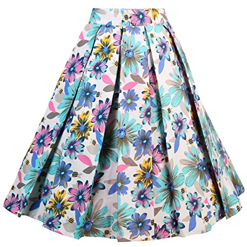 Floral Pleated Skirt Midi - Dressever Women's Vintage A-line Printed Pleated Flared Midi Skirt Colorful Daisy X-Small
