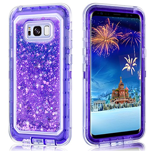 Galaxy S8 Plus Case,Wollony 360 Full Body Shockproof Liquid Glitter Quicksand Bling Case Heavy Duty Phone Bumper Soft Non-Slip Clear Rubber Protective Cover for Samsung Galaxy S8 Plus - Purple