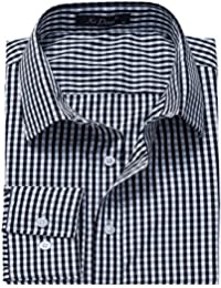 Men's Western Plaid Checkered Fitted Button up Long Sleeve Dress Shirts