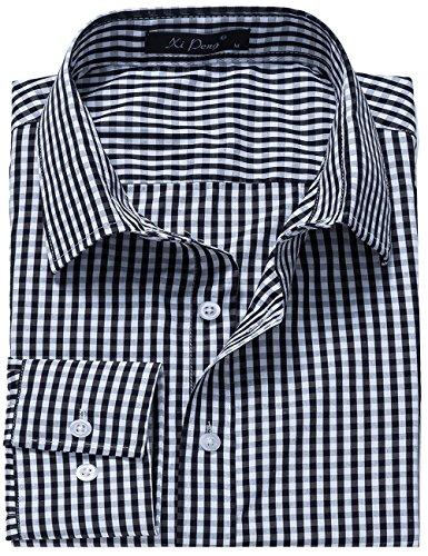 DOKKIA Men's Formal Business Plaid Checkered Button Down Long Sleeve Dress Shirts (X-Large, Black White)
