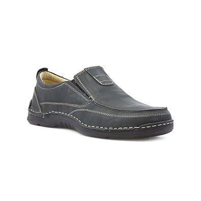 Easy Flex Mens Black Leather Slip on Shoe