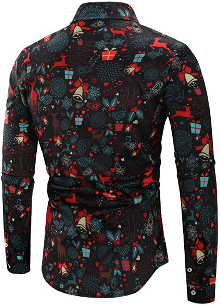 JoCome Embroidere Shirt Slim fit Breathable Blouse Printed Long Sleeve Casual Dress Shirts