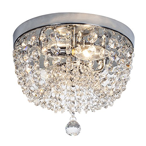 (SOTTAE 2 Lights Ceiling Light Pendant Fixture Lighting Chrome Finish Modern Crystal Chandelier, Crystal Ceiling)