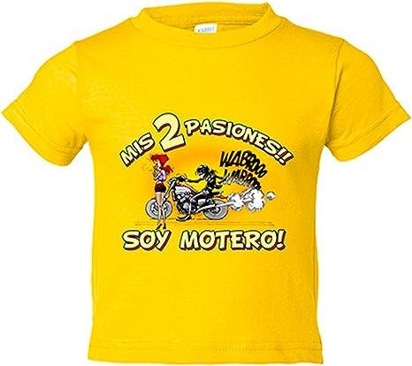 Camiseta niño mis dos pasiones mi moto y mi chica soy motero - Amarillo, 3-4 años: Amazon.es: Bebé
