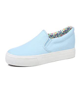 62e7c0400998b Image Unavailable. Image not available for. Color  Womens Sneakers Slip On Platform  White ...