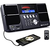 Portable Stereo CD Player VELOUR Boombox with FM Radio Clock USB SD and Aux Line-In for kids