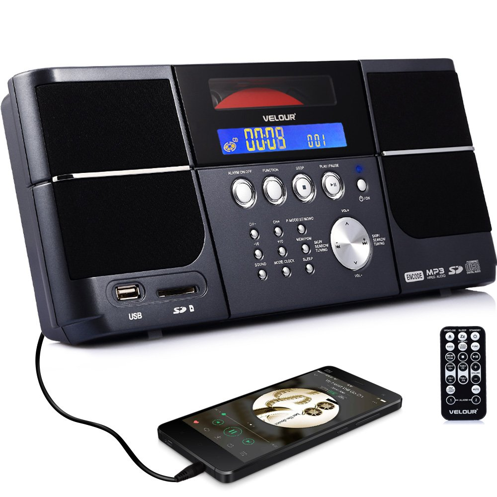 Portable cd player, Stereo VELOUR Boombox with FM Radio Clock USB SD and Aux Line-In for kids boys