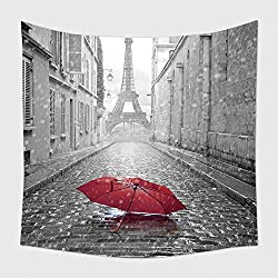 Home Decor Tapestry Wall Hanging Eiffel Tower View From The Street Of Paris Black And White Photo With Red Element 192952718 for Bedroom Living Room Dorm