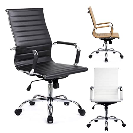 GTRACING Ribbed Office Desk Chair Modern Conference Chair Executive Swivel PU Leather Ergonomic Design Computer Chair High-Back GT838-Black