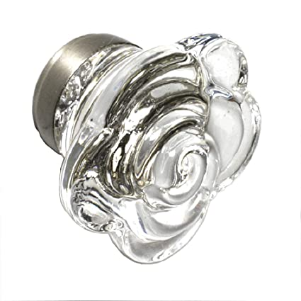 Cute Glass Drawer Pulls Girls Dresser Knobs Cabinet Handles 8 Pack T75vf Clear Rose Knob With Brushed Nickel Base Romantic Decor More