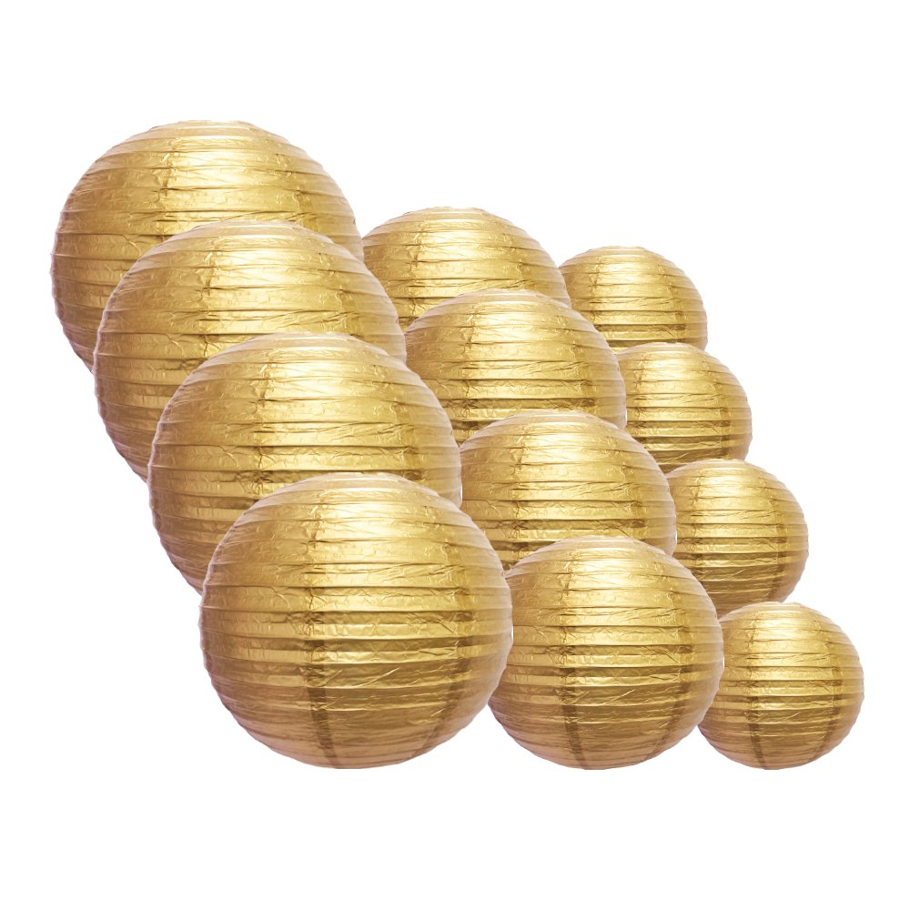 Quasimoon EVP-GD-CP12 12pcs Pack (12/10/8 Inch) Paper Lanterns Even Ribbing, Gold, 12 Piece Set