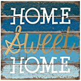 Malden Rustic Wall Sign Home Sweet Home Silkscreened Pallet Gold Foil Wood Sign, 12-Inch X 12-Inch, Barnwood