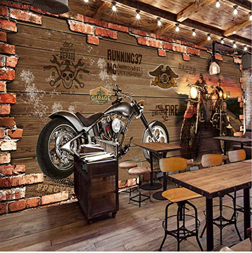 3D Murals Wallpaper Stickers Decorations Wall Retro Motorcycle Brick Cafe Decoration Creative Relief Art Girls Tv (W)250X(H)175Cm
