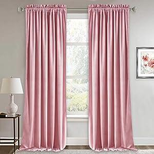 RYB HOME Velvet Curtains 84 inches - Soft Velvet Drapes Sunlight Block Window Treatment Sets, Luxury Home Decor Energy Efficient Room Darkening Drapery, Wide 52 x Long 84, Blush Pink, 2 Pcs