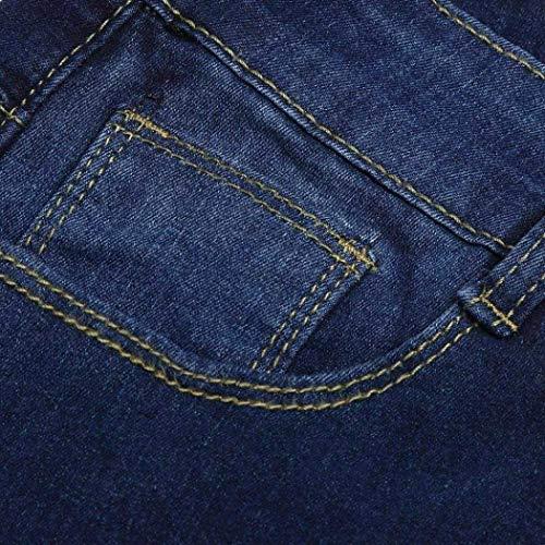 Vaqueros Alta Pantalones Blau Para Mujer Otoño Con Y Bolsillos Pantalón Cremallera De Cintura Acogedores Elástica Ropa Adelina z6wqf
