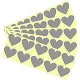 DIY Gratta e Vinci (Scratch Cards) Adesivo - Grigio Cuore 3.5 cm, 150 pezzi