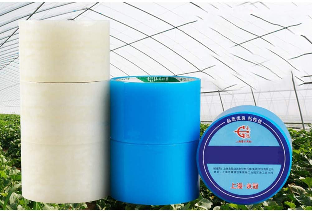 Yardwe 2pcs Ruban de R/éparation pour Film Serre Bande Adh/ésif Ext/érieur Transparent Bleu Blanc 6cm x 10m