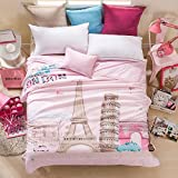 """Summer Air Conditioning Quilt Cool Thin Quilts Sofa Blanket Bedding Set 1-Piece, Size 79"""" 90"""" (Pink Eiffel Tower)"""