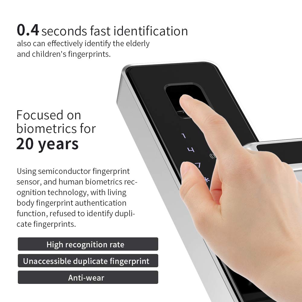 PINEWORLD Q303Plus Advance Fingerprint Smart Door Lock, Intelligent Touchscreen Door Knob with National Biometric Module+RFID Card and Mechanical Key for Home Security, Handle Direction Reversible by PINEWORLD (Image #8)