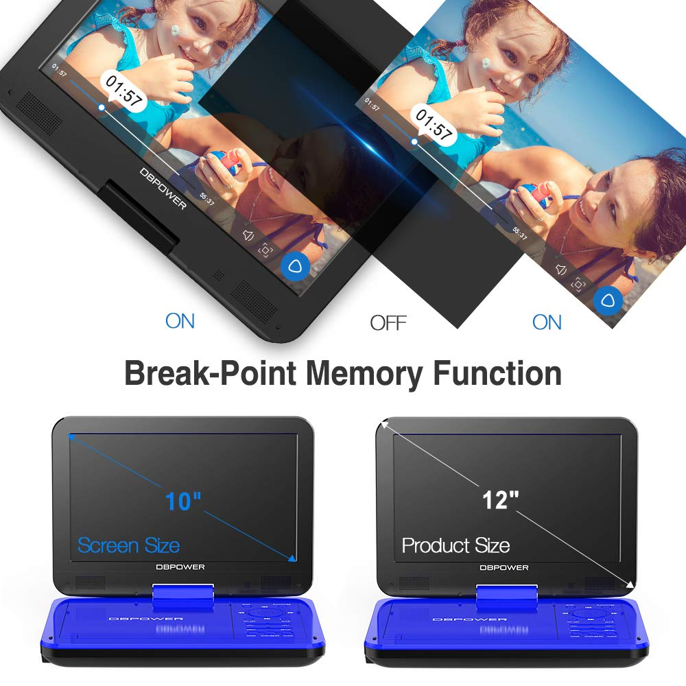 DBPOWER 12 Portable DVD Player with 5Hour Rechargeable Battery 10 Swivel Display Screen SD Card Slot