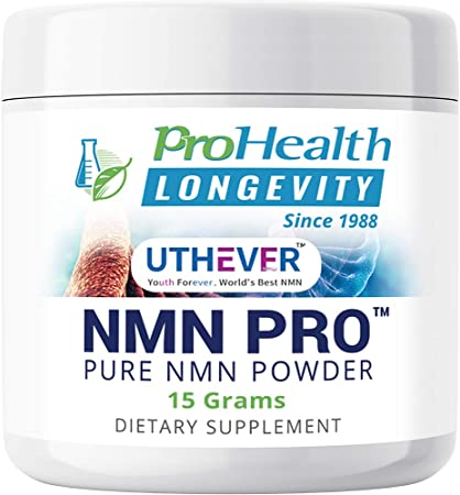 ProHealth Longevity Pure NMN Pro Powder 15 Grams - Uthever Brand - World's Most Trusted, Ultra-Pure, stabilized, Pharmaceutical Grade NMN to Boost NAD+, Used in Human Clinical Research Trials
