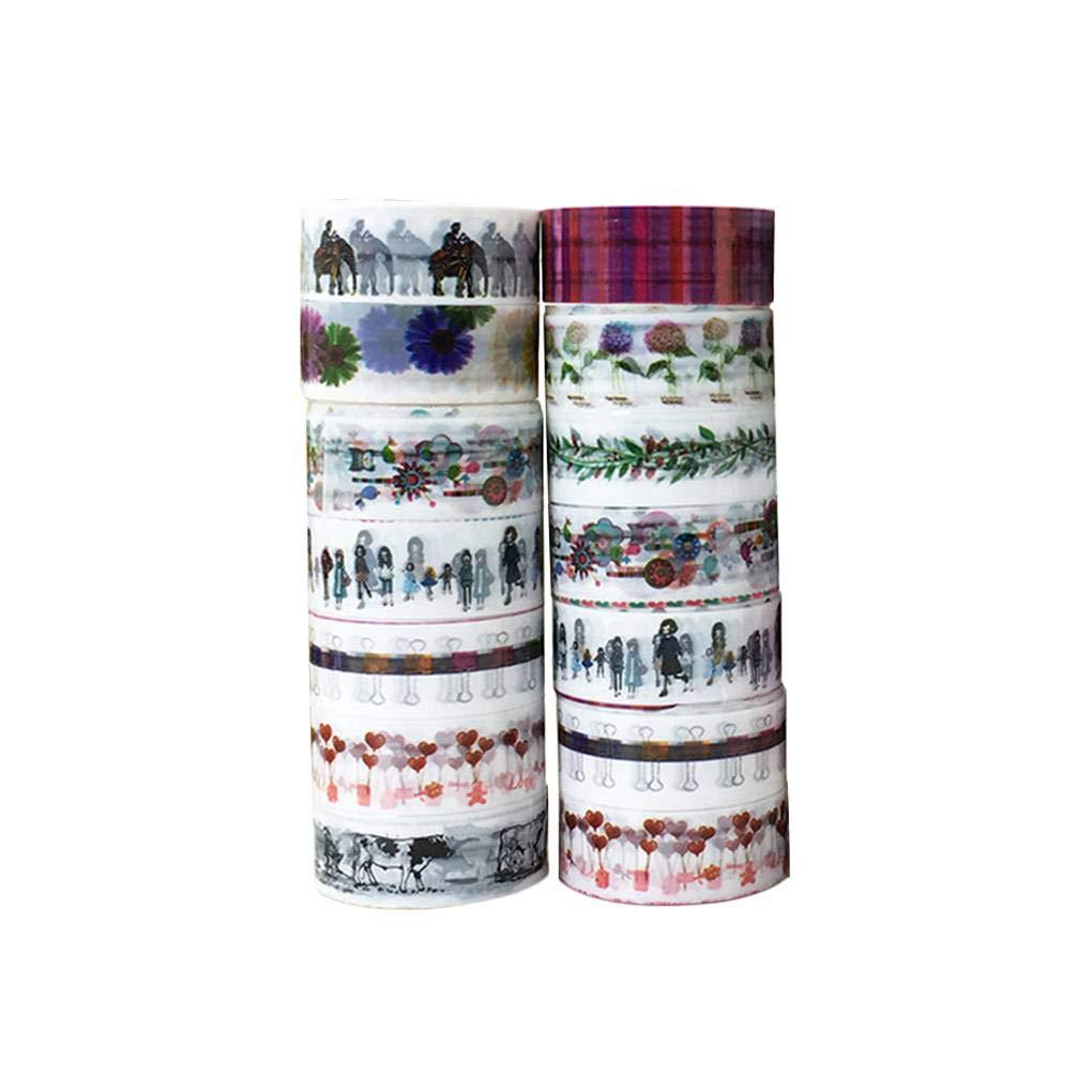 Bobury 10PCS Alta adesione meteo resistente Patterns Nastri Multi per Artigianato di disegno artistico di colore casuale