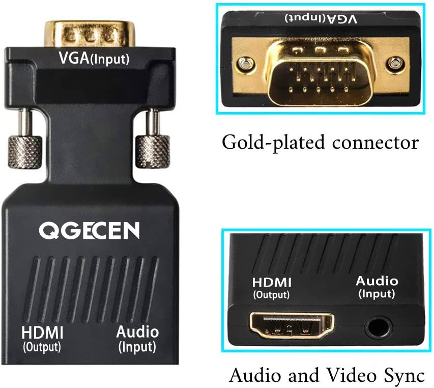 VGA HDMI QGECEN 1080p VGA Male to HDMI Female Video Audio Converter with USB Cable and 3.5mm Audio Cable for Windows PC Laptop Computer to Monitor Projector TV VGA to HDMI Adapter