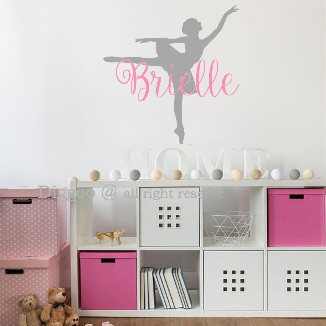 Amazon.com: Ballerina Wall Decal - Personalized Girls Name Wall ...