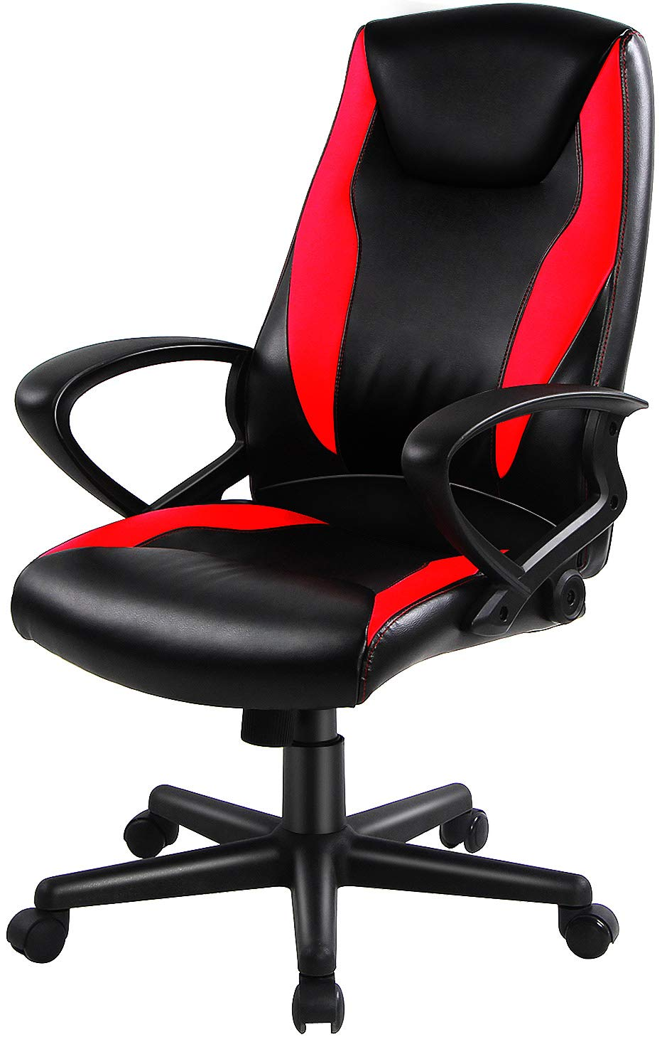 Smugdesk Bonded Leather Racing Car Style Office Task Chair with Fashionable High Back,Black and Red