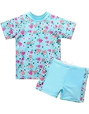 02f678c3ee HUAANIUE Girls 2PCS Swimsuit 3-8Y Swimming Set Short Sleeve Swimwear Summer  Beach Swimming Costume