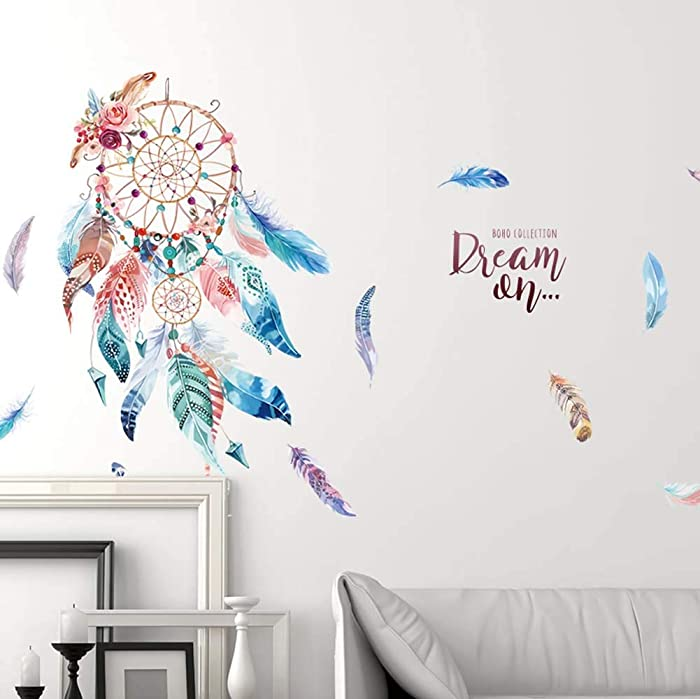 WallDecals Dream Catcher Wall Sticker Mural Art Removable Decals for Classroom Offices Kids Bedroom Bathroom Living Room Decoration (3)