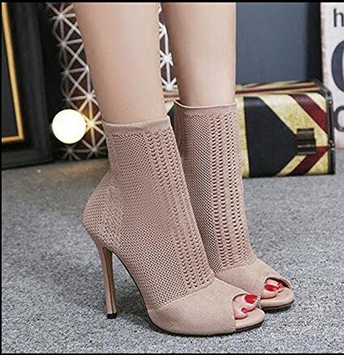 KHSKX-Herbst Aprikose 8.5Cm Schuhe Leder Schuhe Aus Coolen Boots Wolle Aus Mesh Stereo Schuhe Stiefel Fisch Im Mund Forty
