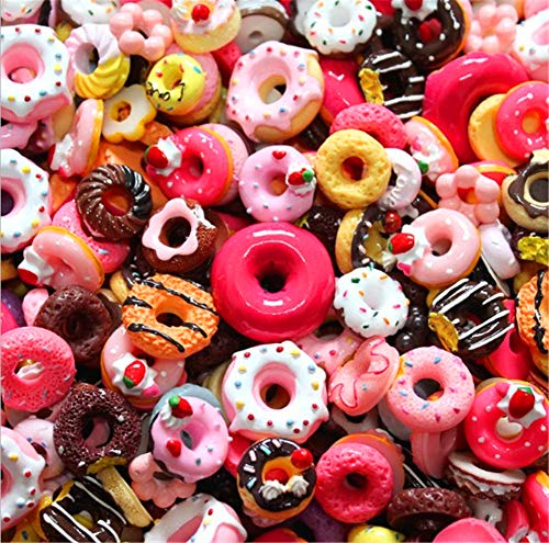 30 Pack Cute Candy Slime Beads Fruit Dessert Ice Cream Resin Charms Slices Flatback Buttons for Handcraft Accessories Scrapbooking Phone Case Decor (Donut)
