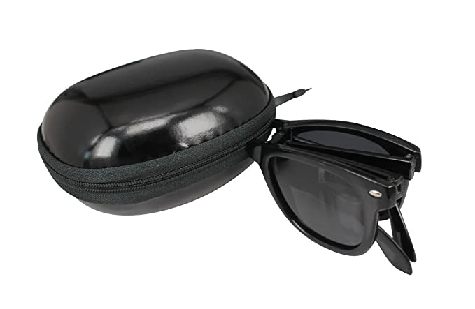 29f0aec6399 SOOLALA Limited Edition Horn Rimmed Polarized Folding Sunglasses with  Compact Pocket