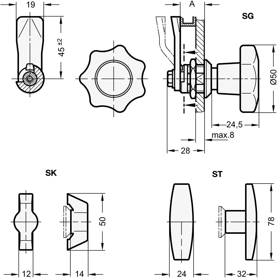 GN 115-ST-24 Bet/ätigung mit T-Griff| 1 St/ück Ganter Normelemente Verriegelungen mit Bedienelement