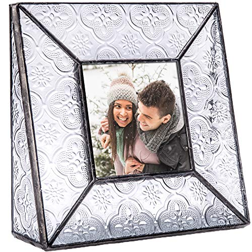 Clear Glass Picture Frame 3x3 Square Photo Display Desk or Tabletop Vintage Home Décor Family Wedding Anniversary Engagement Graduation Baby Gift J Devlin Pic 126 Series