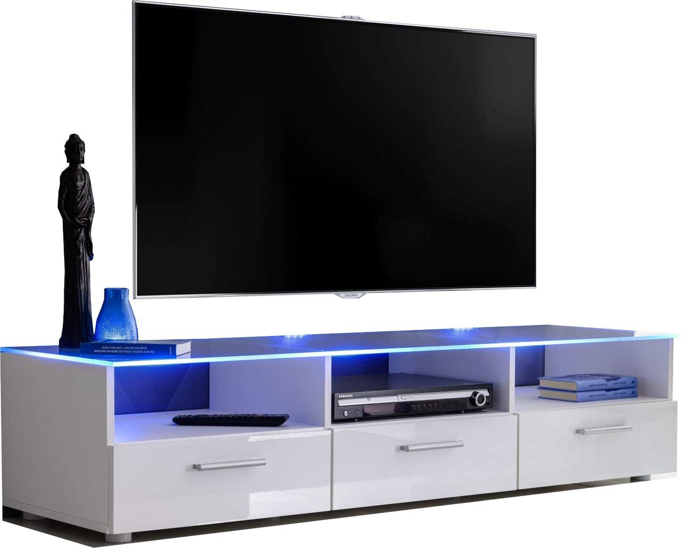 ExtremeFurniture T35 Mueble para TV, Carcasa en Blanco Mate/Frente en Blanco Alto Brillo + LED Multicolor con Mando a Distancia: Amazon.es: Electrónica