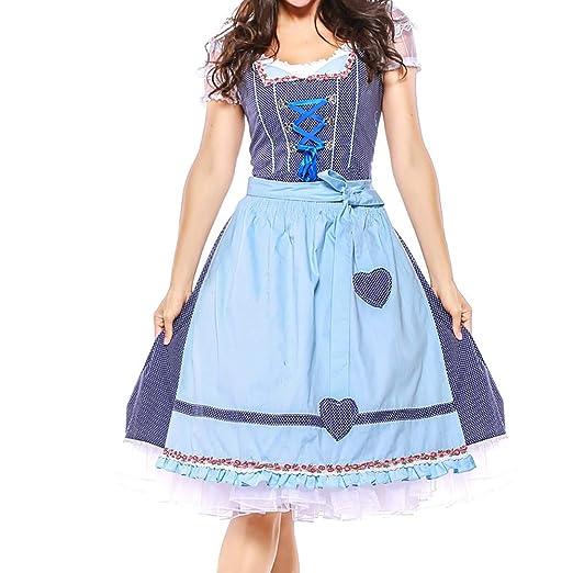 caea11fc68 Amazon.com  Women s Barmaid Dirndl Dress 4 Pieces Traditional Bavarian Oktoberfest  Costumes for Halloween Carnival  Clothing