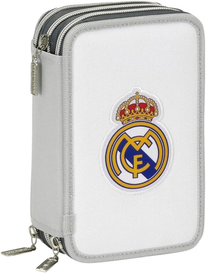 Real Madrid Plumier Triple 41 Piezas (SAFTA 411624057), Color Gris: Amazon.es: Juguetes y juegos