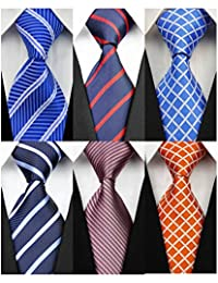 Pack of 6 Classic Men's Silk Polyester Tie Necktie Woven JACQUARD Neck Ties