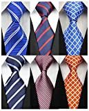 YanLen Pack of 6 Classic Men's Silk Polyester Tie Necktie Woven JACQUARD Neck Ties (TZ07)
