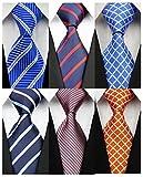 YanLen Pack of 6 Classic Men's Silk Polyester Tie Necktie Woven JACQUARD Neck Ties (TZ07)
