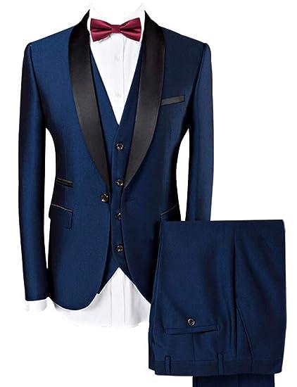 Lilis Men Suit Wedding Suits for Men Shawl Collar 3 Pieces Slim Fit Burgundy Suit Mens Royal Blue Tuxedo Jacket