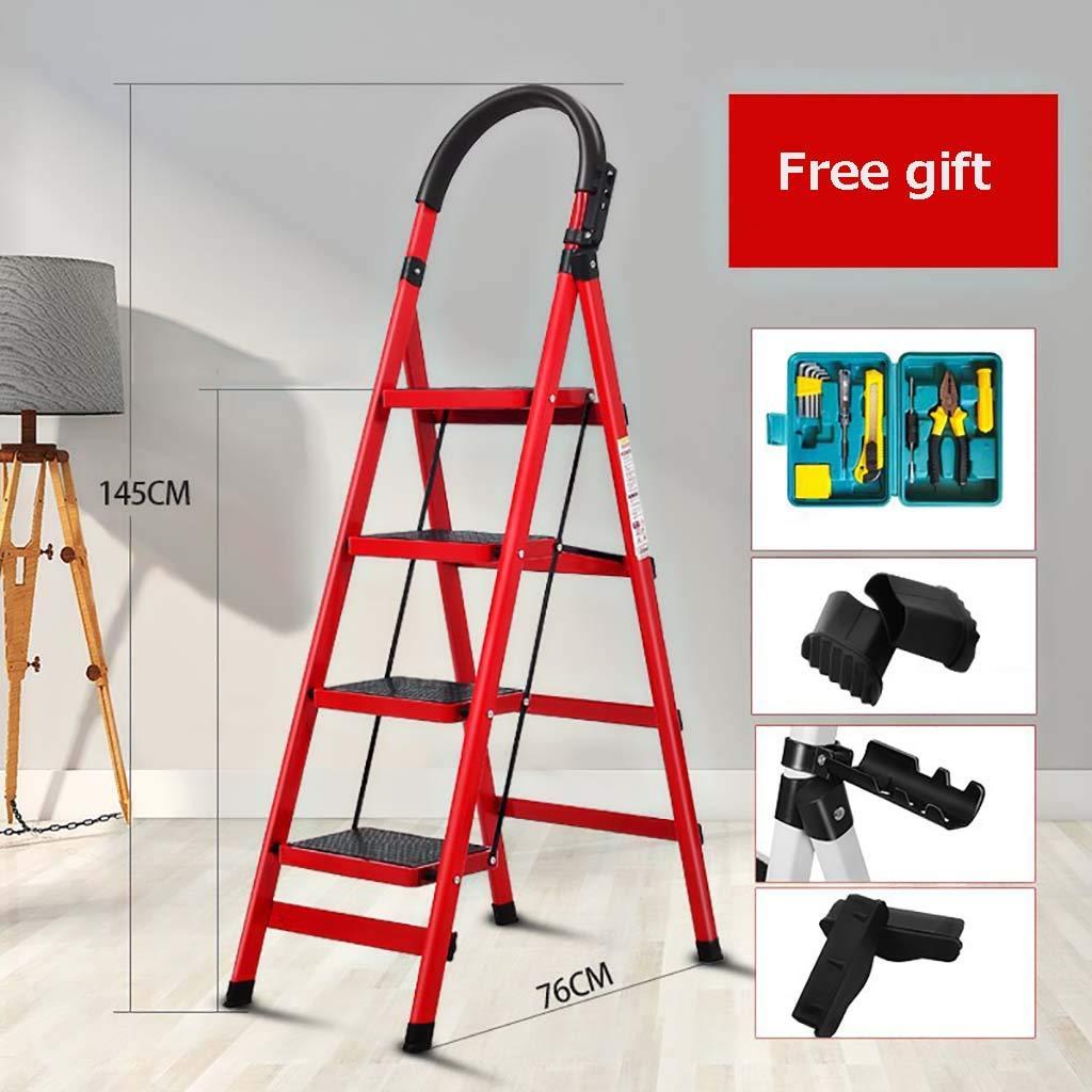 式 4 ステップ はしご,多機能 梯子 厚く アンチ スリップ ポータブル 鋼 はしご ホーム キッチン オフィス 倉庫-赤 145x76cm(57x30inch) B07SVG59GZ 赤