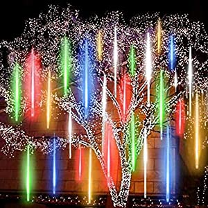 Meteor Lights Plug in 256 LED Falling Snowfall Lights Meteors Shower Rain Lights 30cm 8Tubes Cascading Light for Wedding Party Xmas Garden Tree Home Decor [Energy Class A++] (Multicolor)
