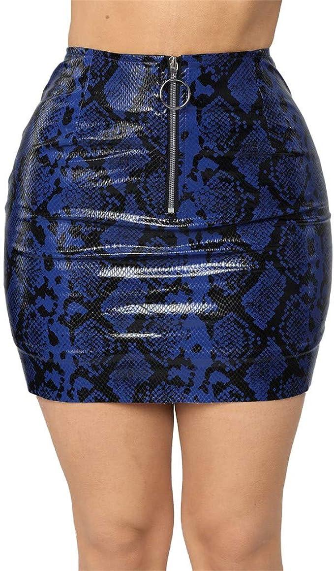 beautyjourney Minifalda de Bodycon para Mujer Falda de Serpiente ...
