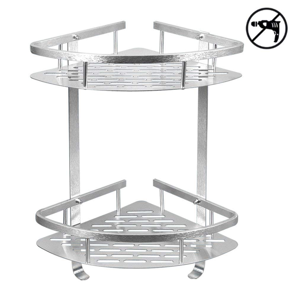Shower Caddy No Drilling Aluminum Wall Mounted Corner Bathroom Shelf 2 Tiers Shelf Organizer Adhesive Storage Basket - Silver by HOMEE (Image #1)