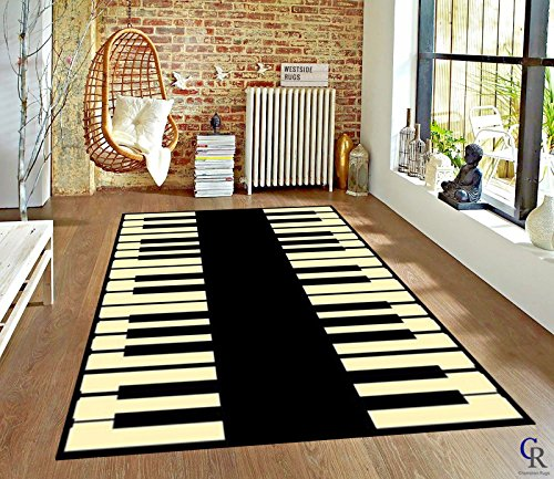 Champion Rugs Music Piano Keys Musical Studio Room Play keyboard Time Area Rug (5' 3