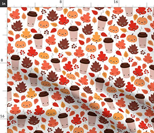 Spoonflower Fall Coffee Fabric - Kawaii Autumn Leaves and Pumpkin Spice Latte Love Pinecone Print on Fabric by The Yard - Denim for Sewing Bottomweight Apparel Home Decor Upholstery